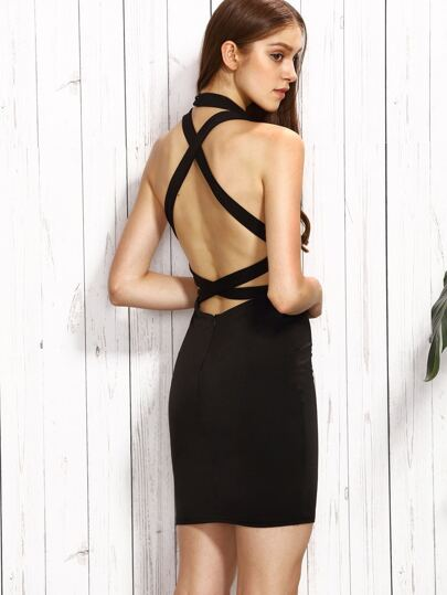 Black Halter Strappy Back Bodycon Dress