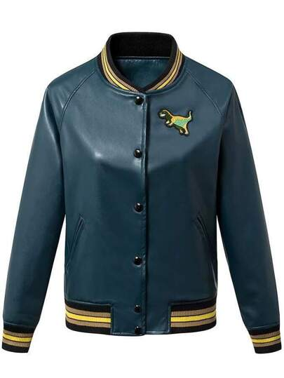 Blue And Green Single Breasted Embroidery Jacket