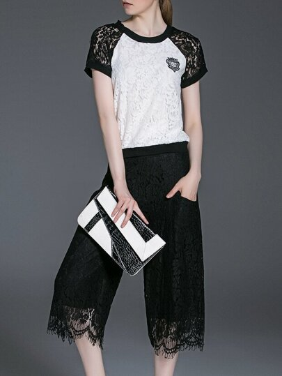 Black White Lace Top With Pockets Pants