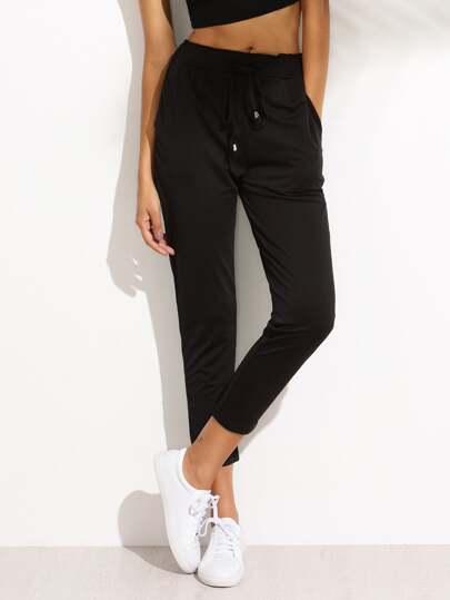 Pantalones cintura con cordón casual - negro