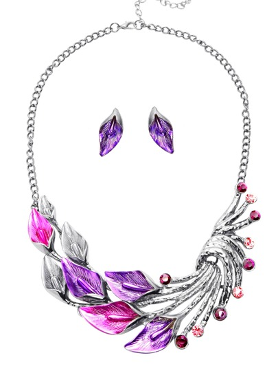 Purple Calla Statement Necklace With Ear Studs