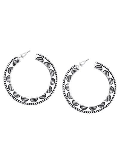 Silver Etched Hoop Earrings