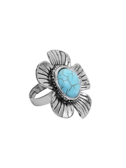 Antique Silver Turquoise Embellished Flower Shape Ring