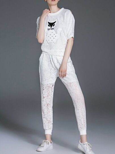 White Cat Applique Pouf Lace Top With Pockets Pants
