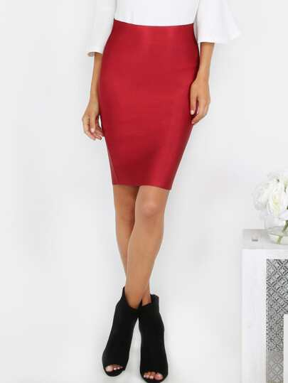 High Shine Bandage Skirt BURGUNDY