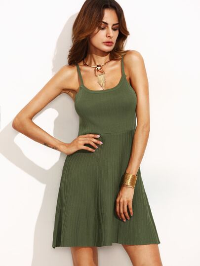 Olive Green Cutout Back Ribbed Knit Cami Dress