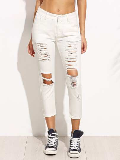 Vaqueros rotos denim skinny - blanco