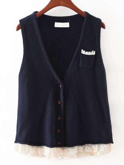 Navy V Neck Crochet Hem Button Sweater Vest