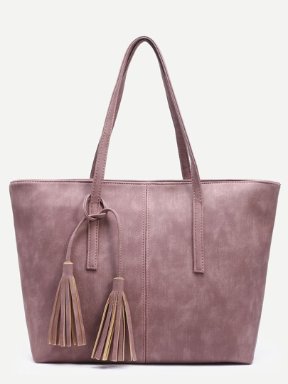 Pink Distressed Tassel Trim Tote Bag