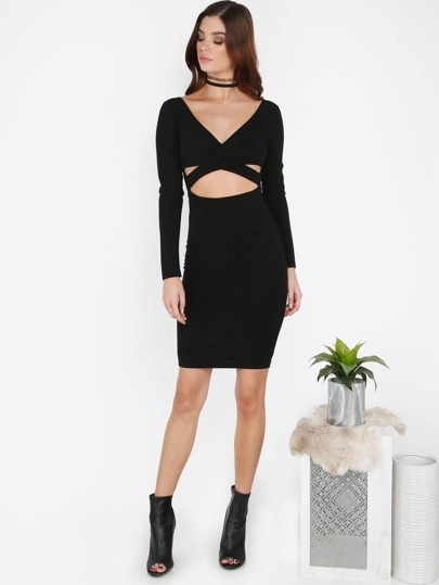 Crossover Long Sleeve Dress BLACK