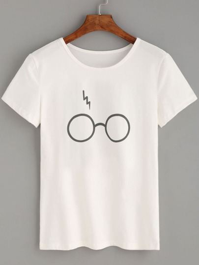 White Glasses Lightning Print T-shirt