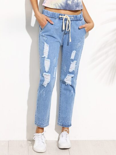 Blue Ripped Print Drawstring Jeans