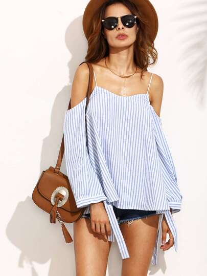 Blue Striped Cold Shoulder Spaghetti Strap Blouse