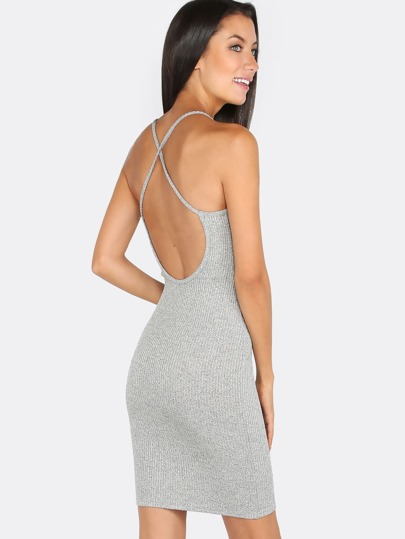 Backless Bodycon Ribbed Dress HEATHER GREY