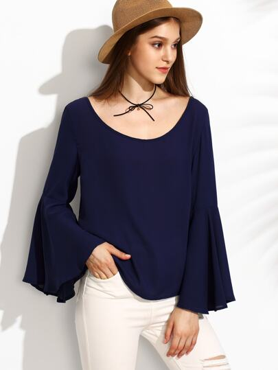 Navy Cutout Back Bell Sleeve Blouse