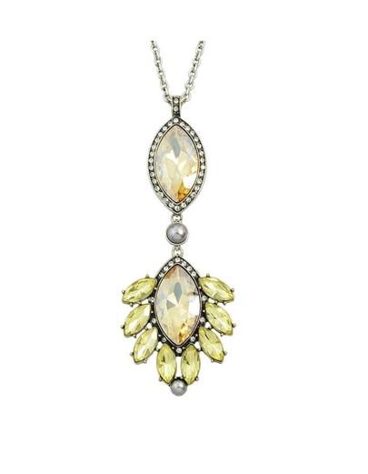 Rhinestone Flower Long Necklace