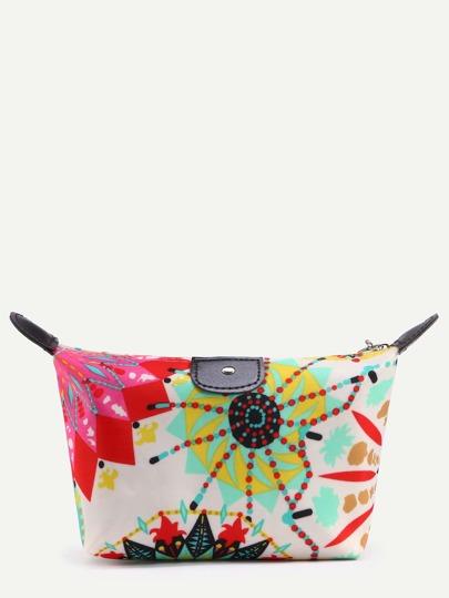 White Circle Print Zip Top Makeup Bag