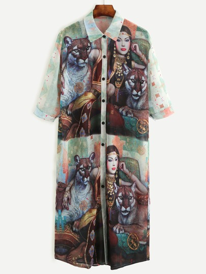 Multicolor Painting Print Chiffon Shirt Dress