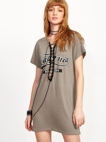 Coffee Lace Up Front Short Sleeve Dress