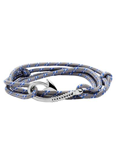 Grey Hook Clasp Cord Wrap Bracelet