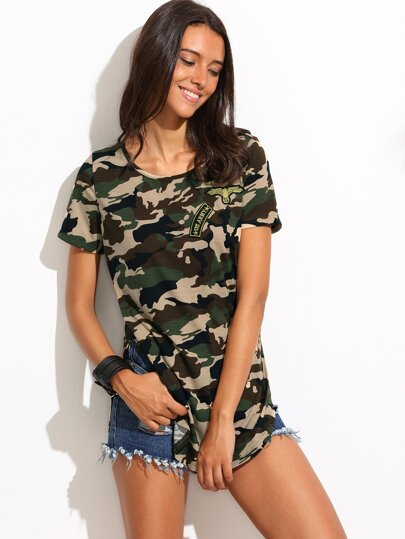 T-shirt imprimé camouflage col rond manche courte
