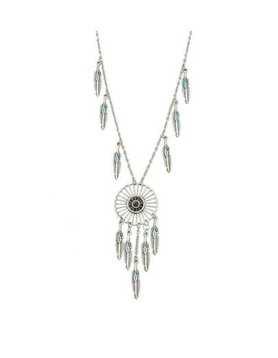 Silver Leaf Dream Catcher Pendant Necklace