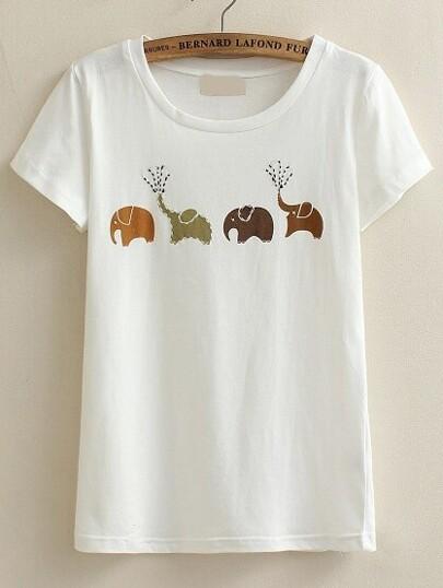White Elephant Print T-shirt