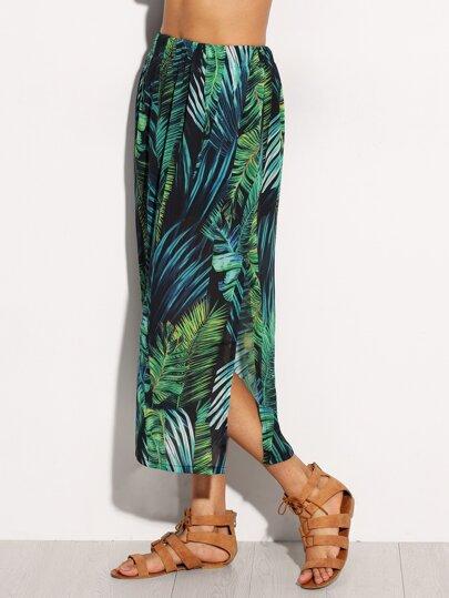 Green Leaves Printed Split Side Skirt