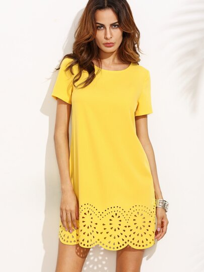 Yellow Short Sleeve Hollow Hem Shift Dress