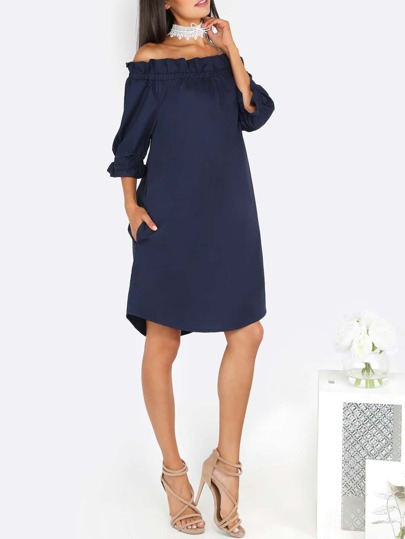 Off The Shoulder Ruffle Dress NAVY