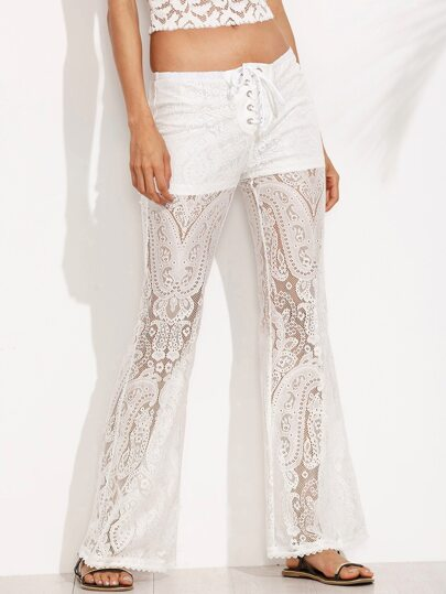 White Lace Up Waist Perspective Lace Long Pants