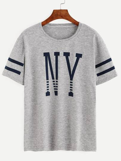 Grey Varsity Striped Letter Print T-shirt