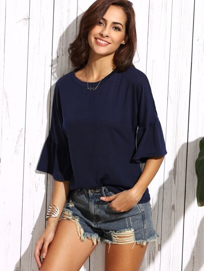 Navy Bell Sleeve T-shirt