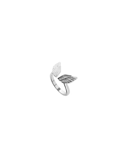 Wings Ring -versilbert