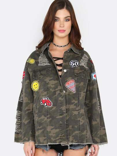 Distressed Patch Camo Jacket CAMO