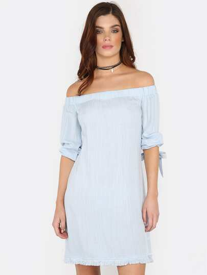 Tie Sleeve Raw Edge Bardot Dress SKY BLUE