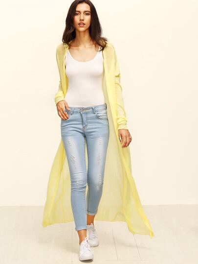 Yellow Long Sleeve Maxi Cardigan