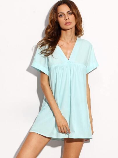 Blue V Neck Cut Out Back Short Sleeve Shift Dress