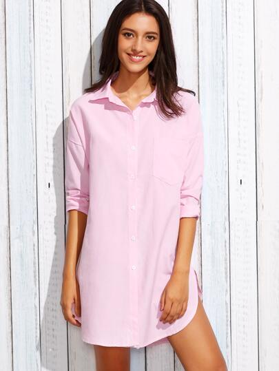 Pink Drop Shoulder Pocket Front Shirt Dress