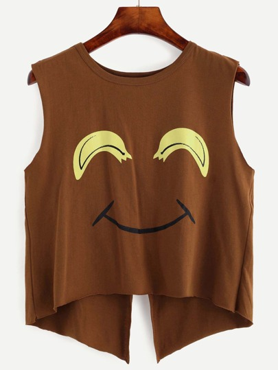 Brown Smiley Face Print Open Back Tank Top