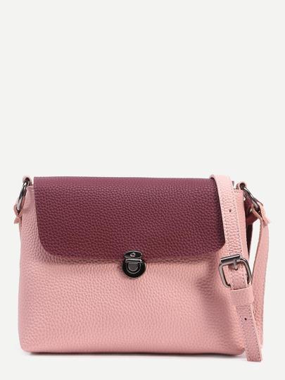 Pink Tassel Trim Contrast Flap Pebbled Crossbody Bag