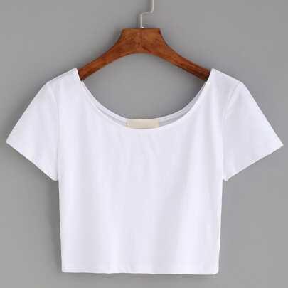 White Scoop Neck Crop T-shirt