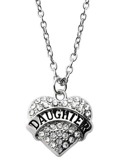 Silver Rhinestone Encrusted Heart Pendant Necklace