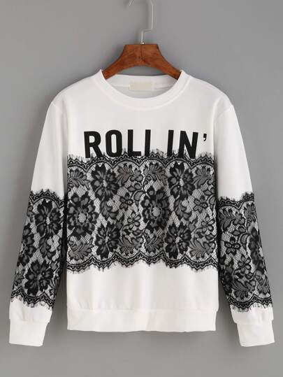 White Letters Print Lace Splicing Sweatshirt