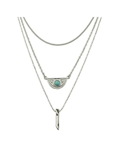 Silver Plated Multilayers Chain Necklace