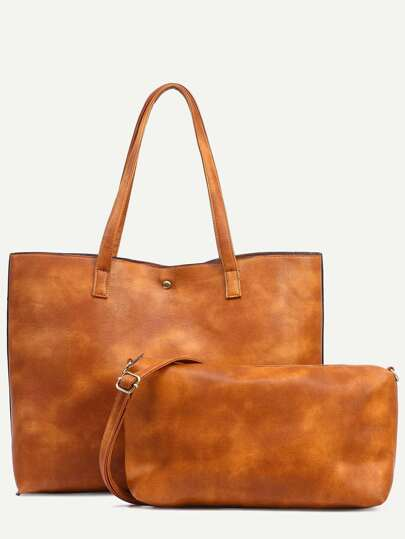 Shopping bag en similicuir avec pochette  - marron