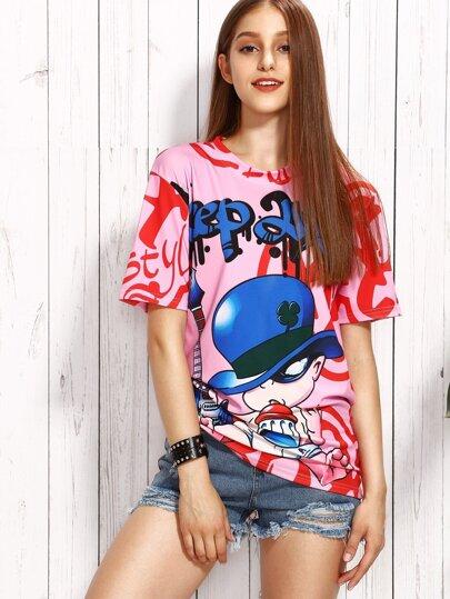 Pink Cartoon Print T-shirt