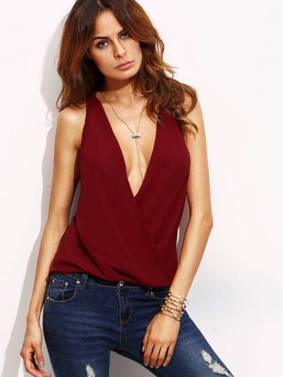 Burgundy Deep V Neck Cut Out Back Sleeveless Blouse