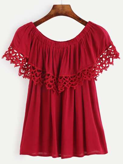 Red Crochet Trim Ruffle Top