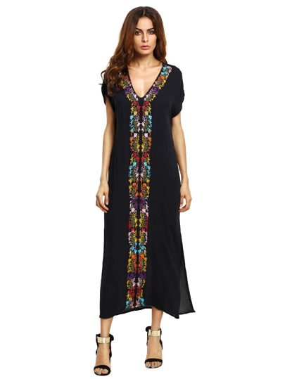 Navy Placement Print Split Side Maxi Dress